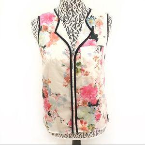 H&M floral sleeveless chiffon blouse size 4